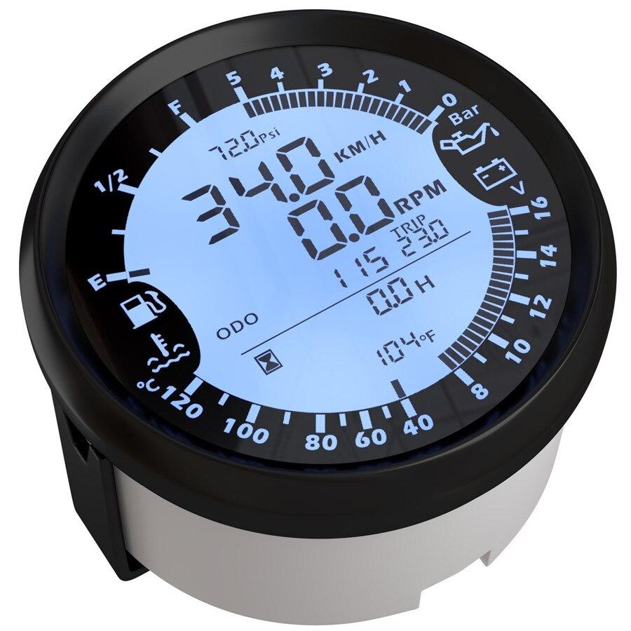 مقياس سرعة متعدد الوظائف 6 في 1 ، عداد سرعة 85 مللي متر للسيارة ، نظام تحديد المواقع العالمي (GPS) ، عداد السرعة للشاحنة والقارب ، شاشة LCD رقمية ، ب...