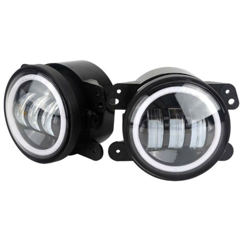 1 Pair 4inch Round LED Fog Passing Lamp 30W Fog Light with White Halo for Jeep Wrangler JK TJ LJ Hummer Dodge Journey
