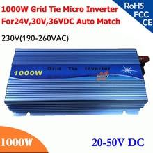 Micro onduleur à grille 1000W 20V-50VDC   190V-260VAC 220V/230V, utilisable pour système solaire 1200W, 24V, 30V, 36V, nouveau