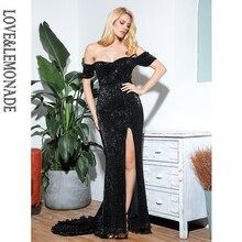Miłość i lemoniada seksowna czarna tubka Top Split z krótkim rękawem elastyczne cekiny Bodycon Maxi sukienka LM81727