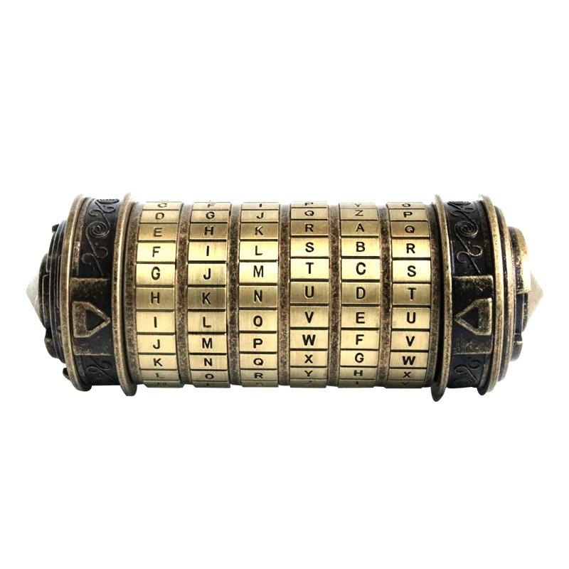 Leonardo Da Vinci Code Cylinder Puzzle Lock Alloy Zinc Cryptex Valentine's Day Romantic Birthday Gifts Escape Chamber Props