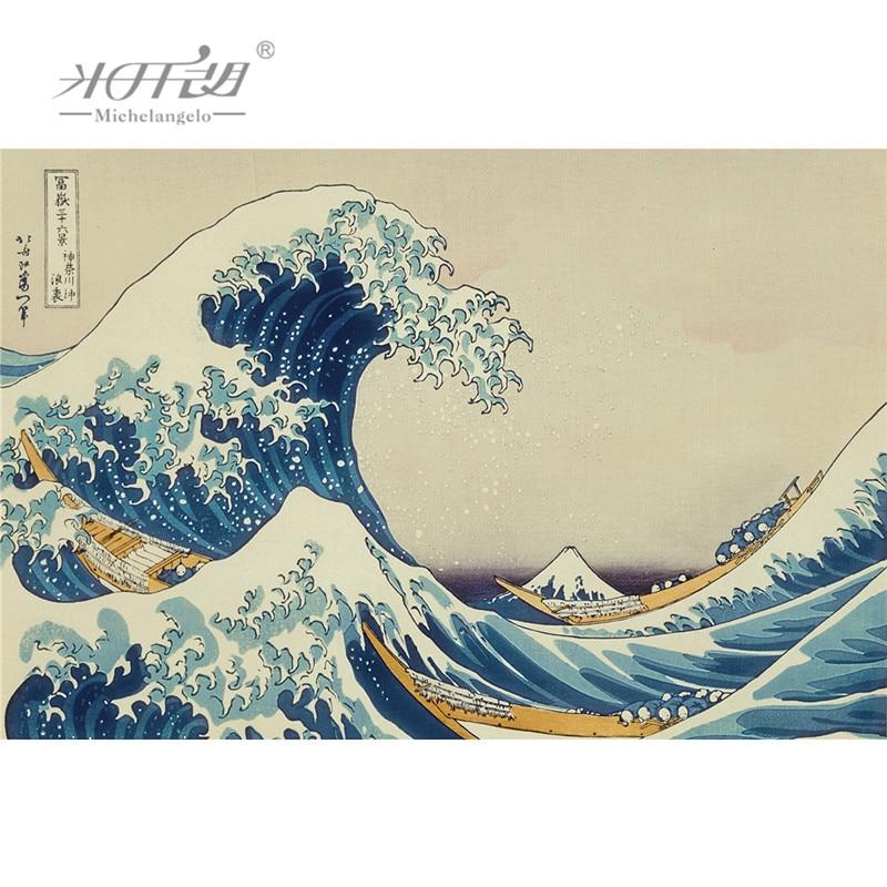 Michelangelo Wooden Jigsaw Puzzles Ukiyoe 36 Views of Mount Fuji Great Wave off Kanagawa Hokusai Educational Toys Painting Decor