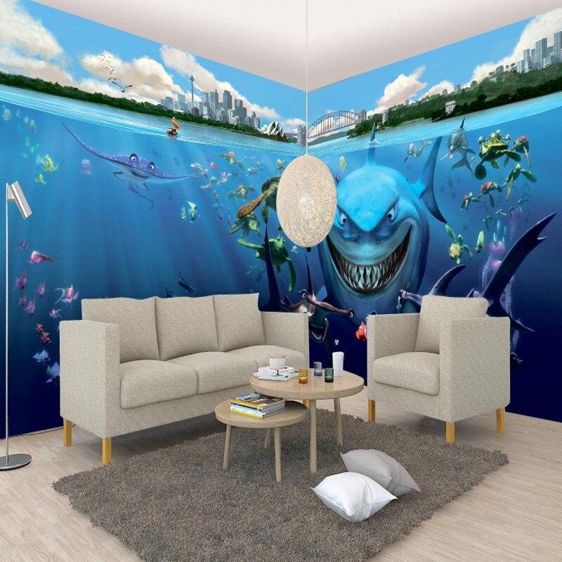 photo wallpaper 3D three-dimensional underwater world shark theme room full house mural backdrop wallpaper