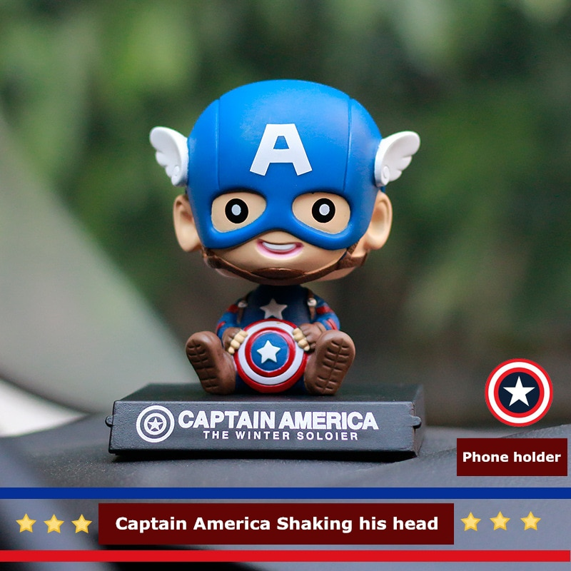 Bonito tablero de instrumentos creativo de dibujo animado del Capitán América con cabeza temblorosa para decoración de coche