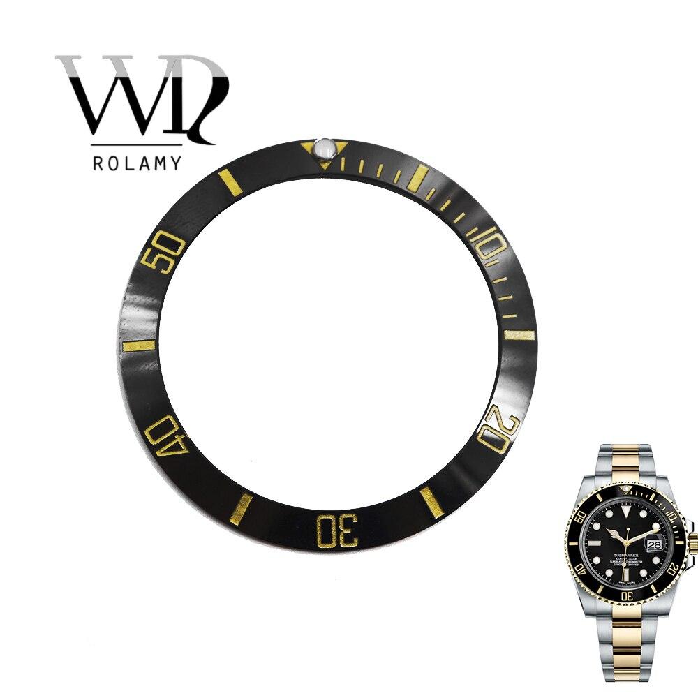 Rolamy-استبدال قرص السيراميك الأسود ، بالجملة ، 38 مللي متر ، ملحق لـ Submariner GMT 40 مللي متر 116610 LN