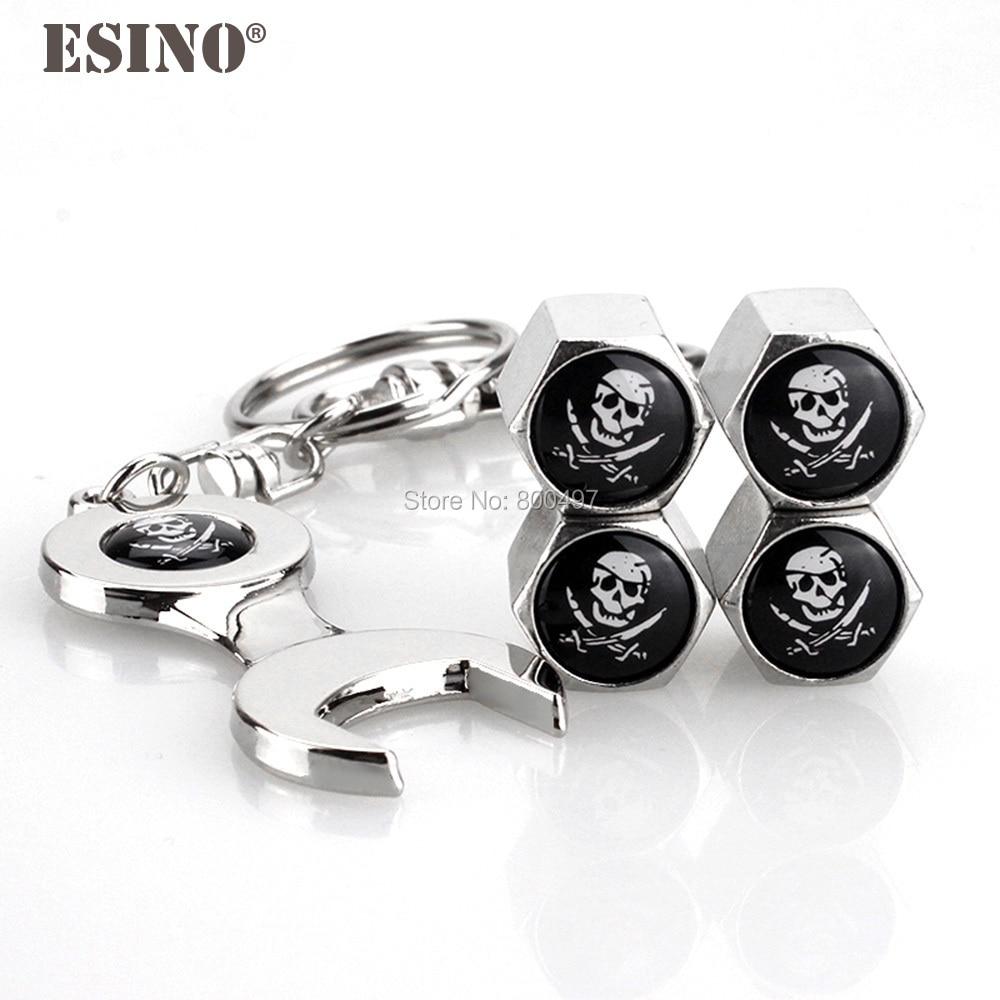 40 x tapas de vástago de válvula de rueda de aleación de Zinc de acero inoxidable de estilo de coche de pirata cráneo Universal con Mini llave inglesa clave de la cadena