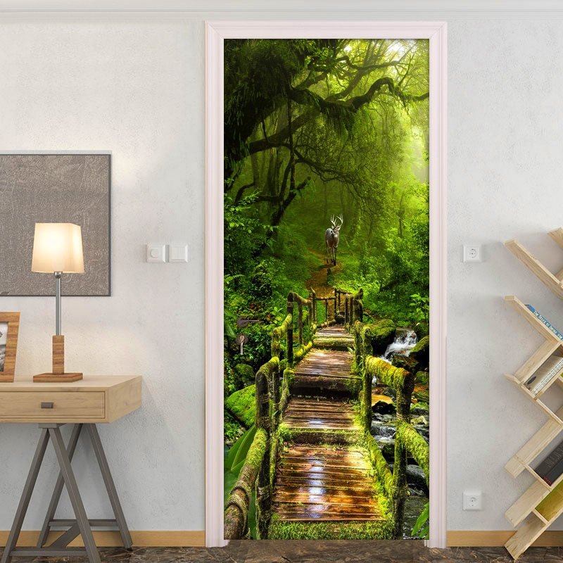 Adhesivo de puerta de bosque, Mural de pared, papel pintado con foto 3D para sala de estar, pegatinas de puerta DIY, papel tapiz de puerta de vinilo de PVC, decoración del hogar en 3D