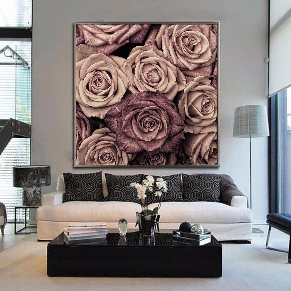 Pósteres e impresiones Rosa Floral precioso Color flor lienzo pintura romántica arte de pared cuadros para sala de estar