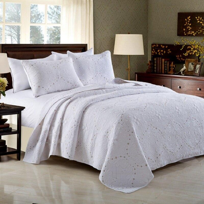 CHAUSUB المفرش لحاف مجموعة 3 قطعة القطن لحاف للأبيض المطرزة مبطن غطاء السرير ملاءات الملك الملكة حجم غطاء السرير بطانية