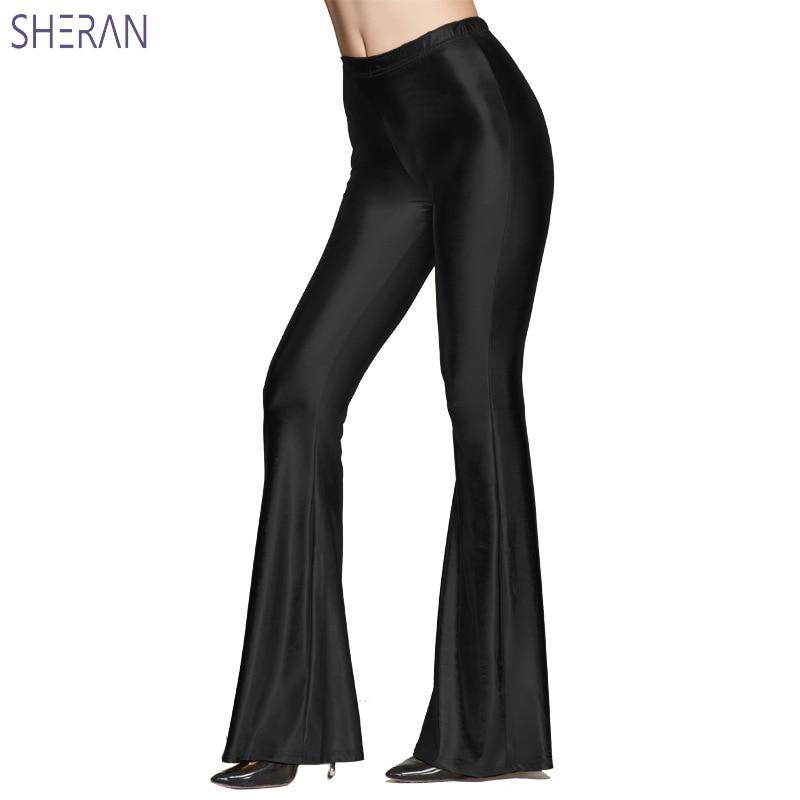 Золотые сексуальные брюки с высокой талией, осень 2018, женские расклешенные брюки с блестками, повседневные кожаные брюки, женские однотонны...