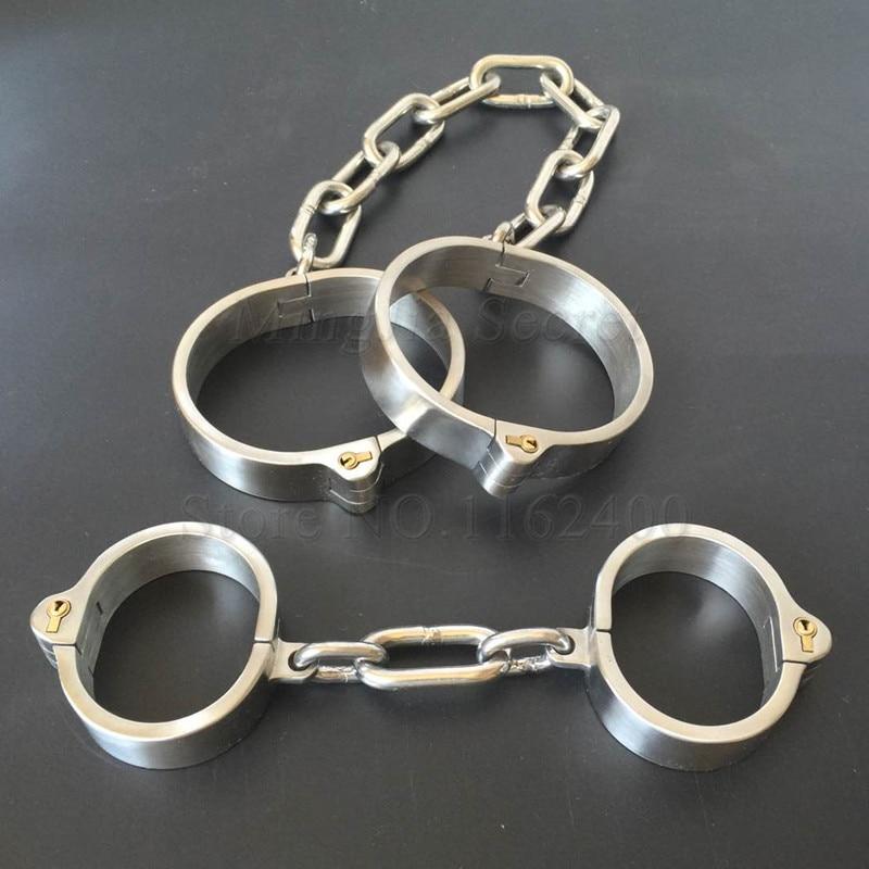 304 Stainless Steel BDSM Bondage Handcuffs Wrist Lockable Shackles Ankle Cuffs Fetish Slave Restraints Sex Toys For Woman Men