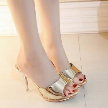Zapatos Peep Toe para mujer, tacones altos, sandalias de 9cm, zapatos de mujer, zapatos transparentes de cristal grueso, zapatos impermeables para mujer