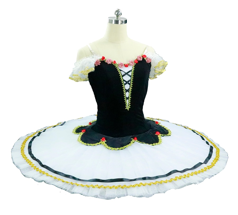 Preto branco chamas de paris adulto profissional ballet tutu feminino ballet estágio tutu traje desempenho panqueca tutu para meninas