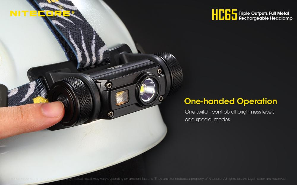 Nitecore – lampe de poche HC65 à lumière LED Cree 2018 U2 + CRI + rouge, 1000lm, USB Rechargeable, XM-L2