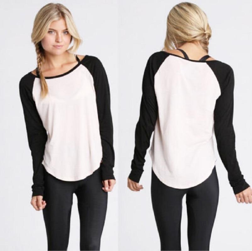 Ladies Autumn T shirt 2016 New Women Casual Long Sleeve Cotton Colorblocked Baseball Patchwork T-Shirt