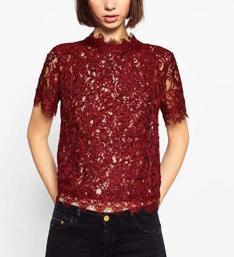 2017 new women elegant lace crochet net yarn Shirt blouses women short sleeve casual retro roupas femininas 3 colors sexy tops