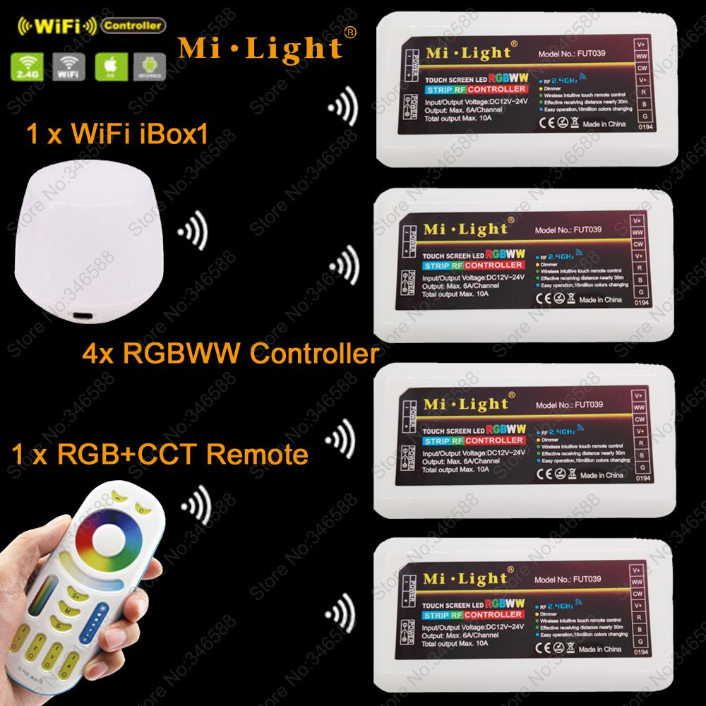 MiLight RGBWW (RGB+Cool White+Warm White) Controller DC12-24V 2Ax5CH + 2.4G RF Wireless RGB+CCT 4-Zone Touch Remote + WiFi iBox1