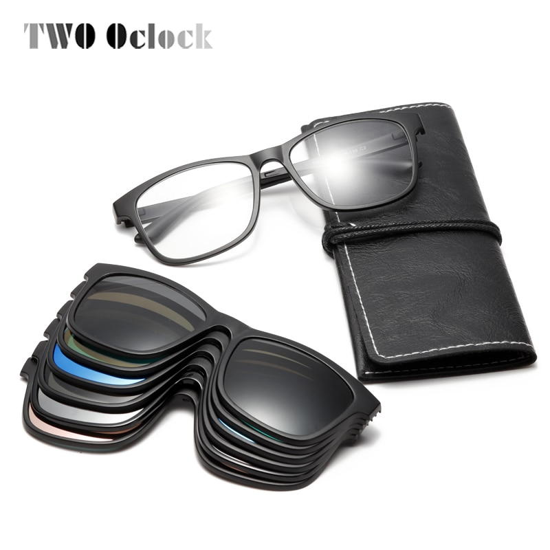 TWO Oclock Magnet Sunglasses Men Polarized Clip On Sunglass Women 3D Night Vision Glasses Support Cu