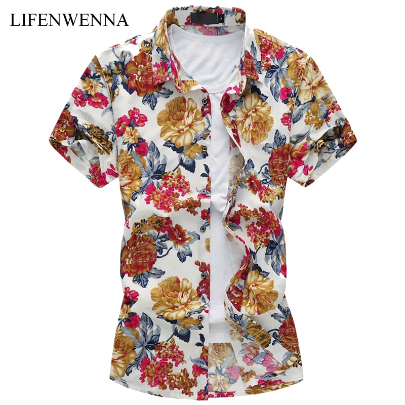 2019 Men's Floral Shirt Summer Fashion Print Short Sleeve Shirt Mens Clothes Trend Casual Slim Fit Print Shirt Men Plus Size 6XL