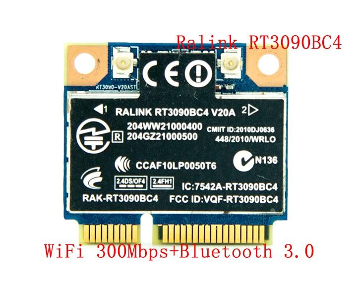 Ralink rt3090bc4 300 mbps pci-e wifi adaptador mini pci-express sem fio combo adaptador com bluetooth v3.0 bt 3.0 para hp 602992-001