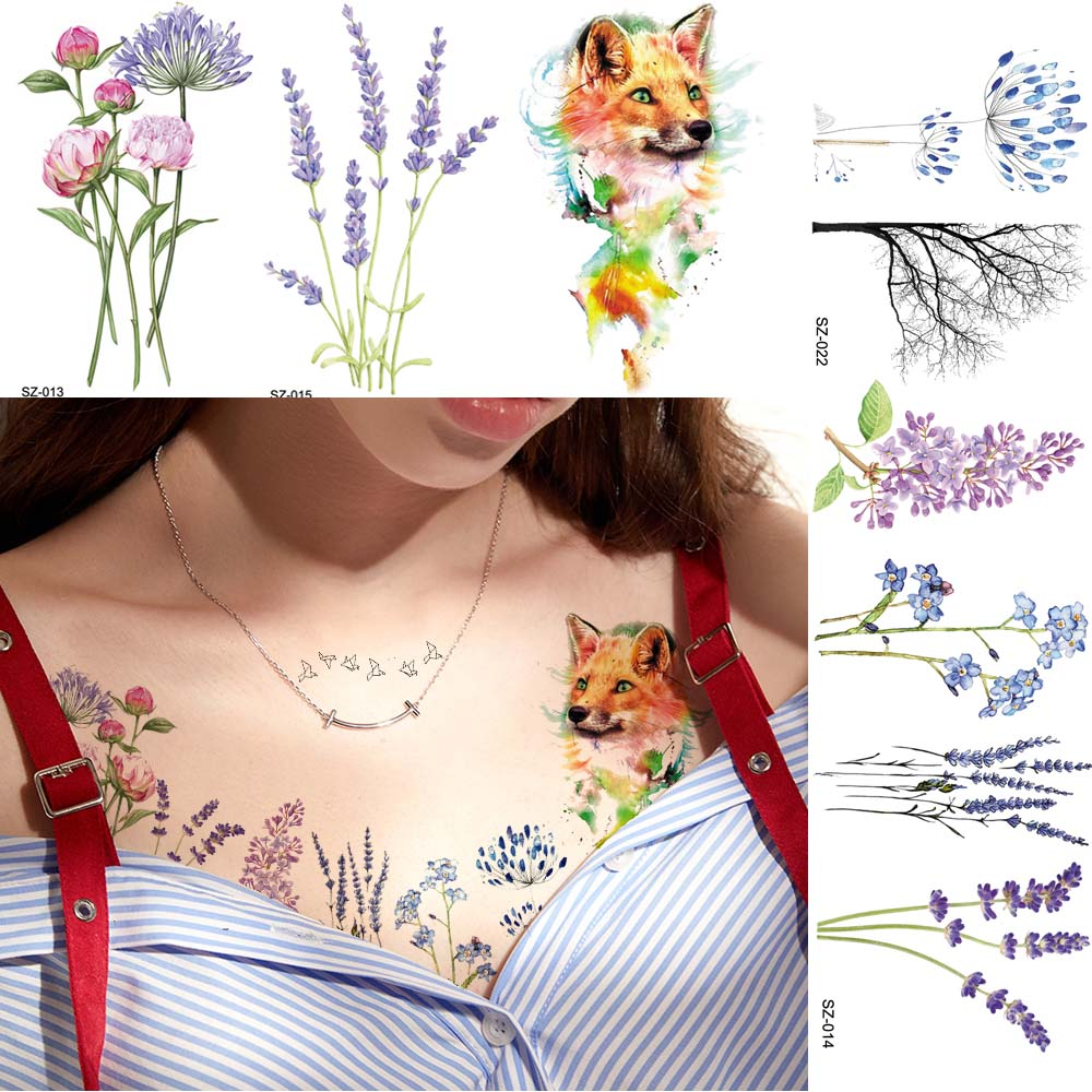 Acuarela flor Floral tatuaje temporal pegatinas mujer cuerpo pecho brazo Flash tatuajes falsos niñas flor pequeña lámina etiqueta del tatuaje