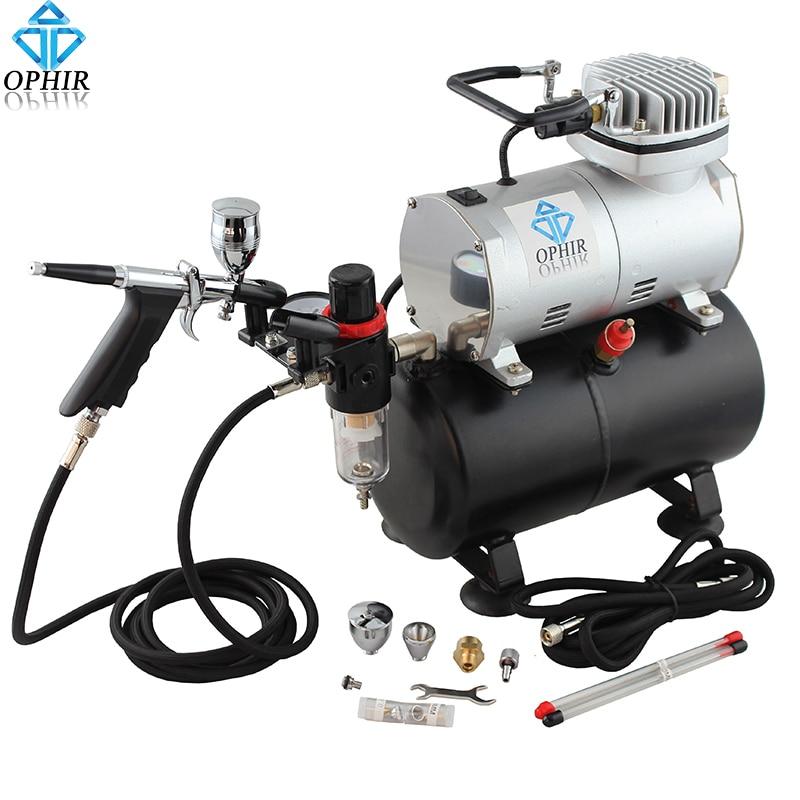 OPHIR 110V 220V Air Tank Compressor w/ Dual Action Spray Gun 0.3 0.5 0.8mm Airbrush Set for Hobby Nail Art Body Paint _AC090+069