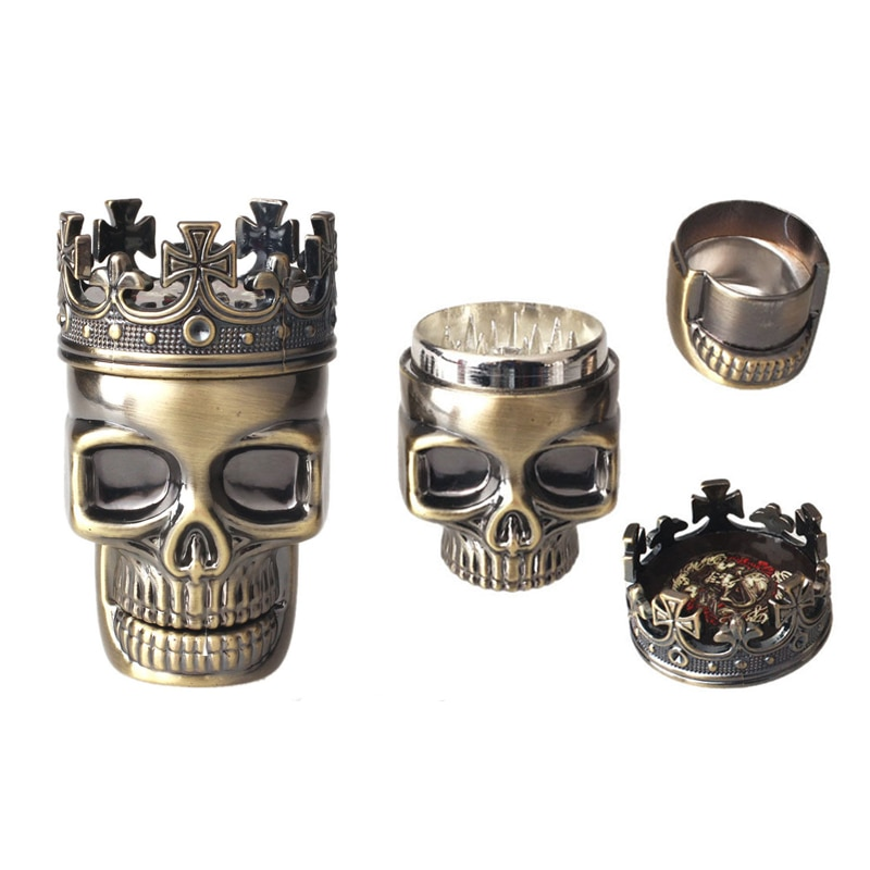 King Skull Metal Tobacco Herb Spice Grinder Crusher 3 layers Hand Muller For Men