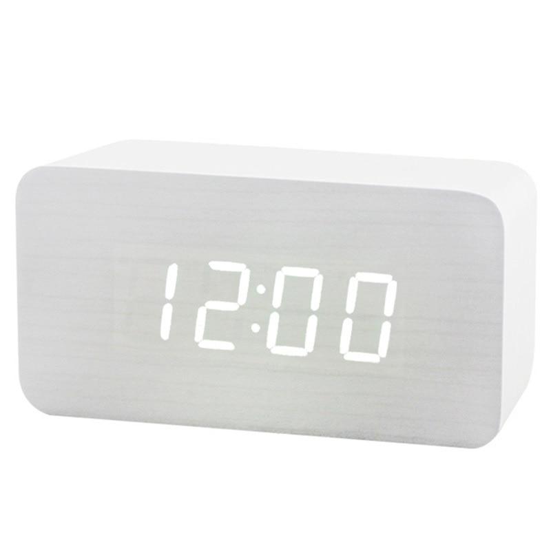 Wood LED Alarm Clock Modern Snooze White Desk Digital Clock for Bedroom Sound Control Electronic Table Clocks Birthday Gift
