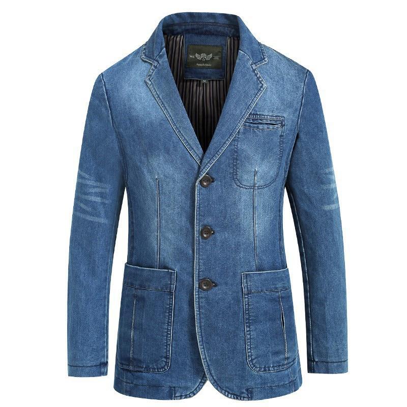 Брендовая джинсовая куртка, мужской осенний Блейзер, куртка приталенного силуэта в стиле милитари, однобортная джинсовая куртка с отложным...
