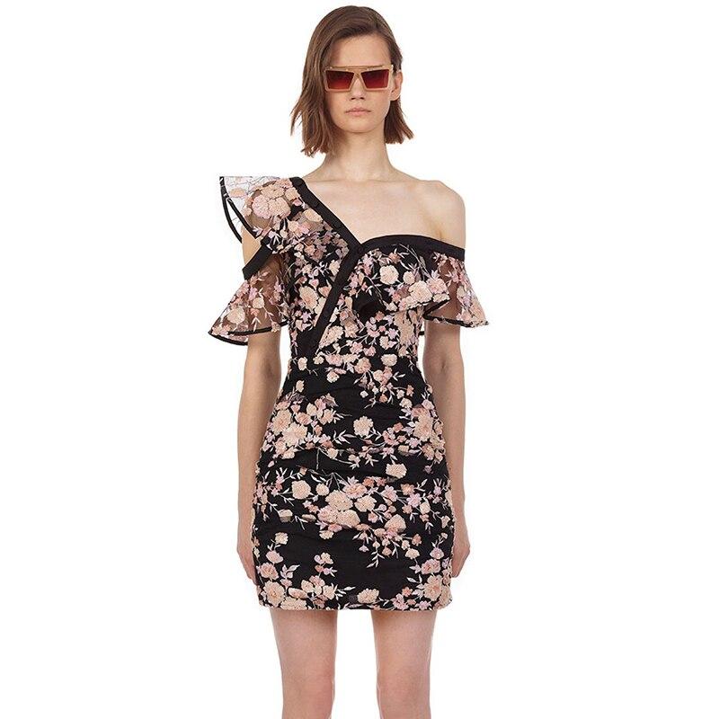 HANZANGL nuevo 2019 inclinado hombro lentejuelas flor bordado volantes Slim vestido Casual, vestidos de fiesta