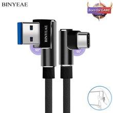 90도 USB 유형 C 케이블 1 M 2 M 3 M Xiao mi mi 8 mi 6 mi 5 mi max 3 2 mi x 2 s A1 6X 5X 참고 3 USB-C TIPE C 고속 충전 3A