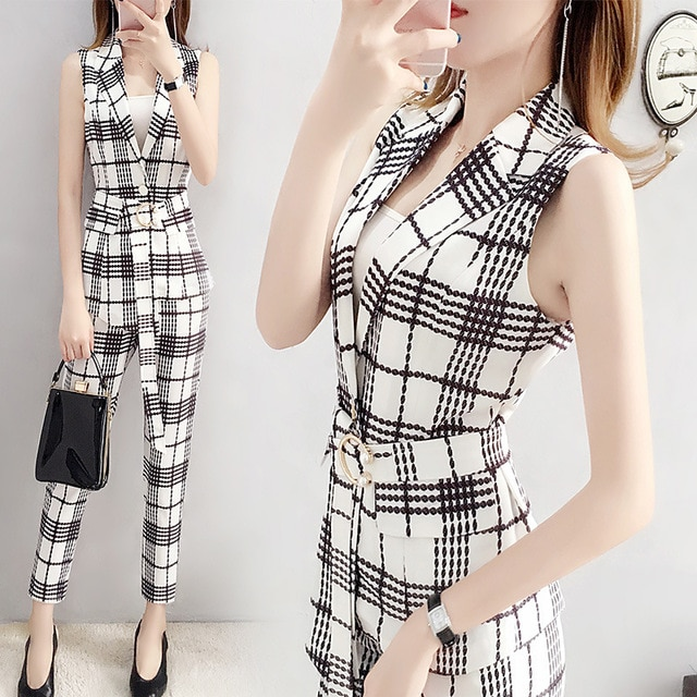Pant Suits For Women Spring Summer Business Office Lady Elegant Plaid Slim Professional Work Vest Pants Two Piece Set Plus Size