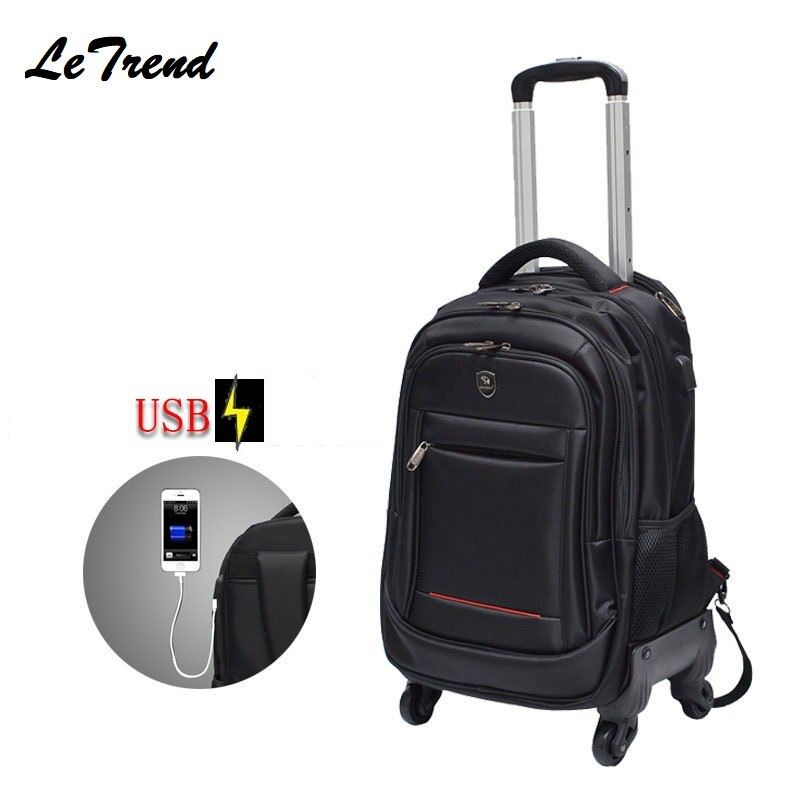 USB Multifunction Rolling Luggage Boarding Spinner Backpack Shoulder Travel Bag Casters Trolley Carry On Wheels School Bag