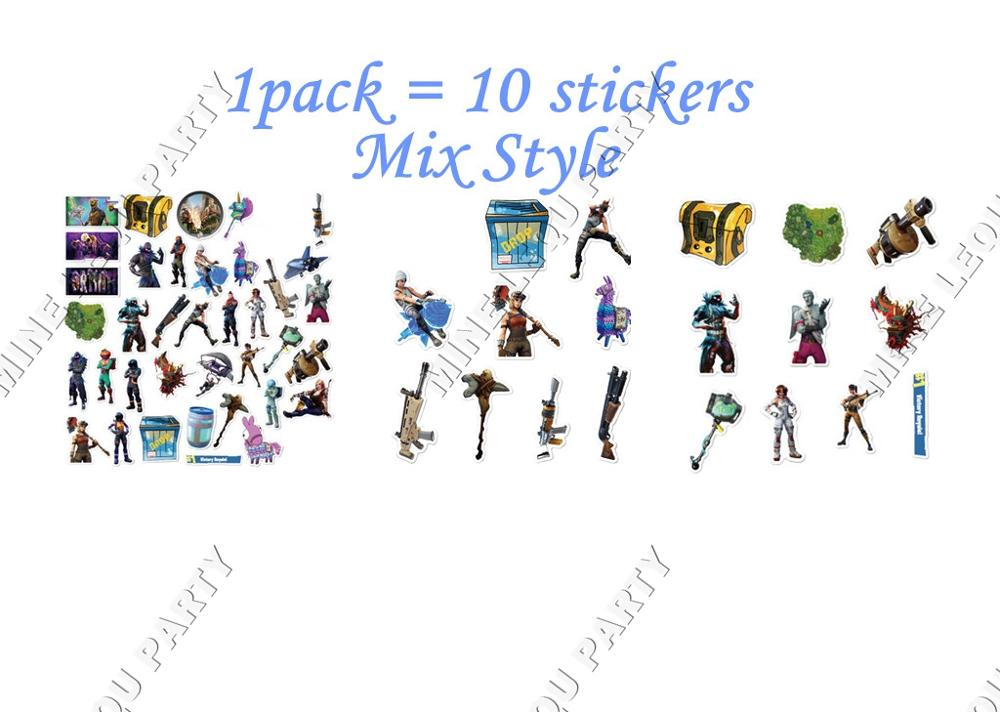 10 Uds. Battle Royale llama Fortnight Toys Fortress Night Action figuras pegatinas de grafiti FPS para ordenador PS4 para suministros de fiesta
