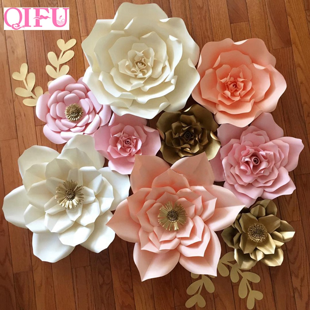 QIFU DIY Paper Flowers Wall Decorations Children Photo Background Artificial Flower For Wedding Favors And Gifts Paper Flowers