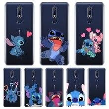 Divertida funda de teléfono Linda Kawaii Stitch para Nokia 7,1 6,1 5,1 3,1 2,1 funda trasera de silicona suave para Nokia 2,1 3,1 5,1 6,1 7,1 Plus
