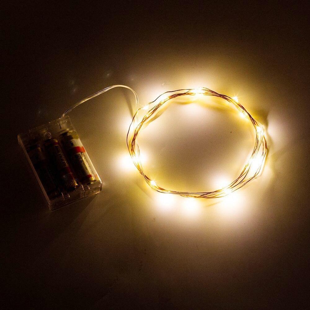 20 unids/lote 2 M/20 luces Led Cadena de luz blanca cálida Mini LED Hada parpadeante para fiesta decoración de la boda