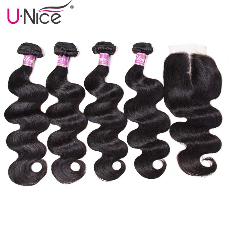 UNice Hair-وصلات شعر ريمي بيرو ، مجموعة من 4 خيوط مموجة ، مع إغلاق ، شعر بشري