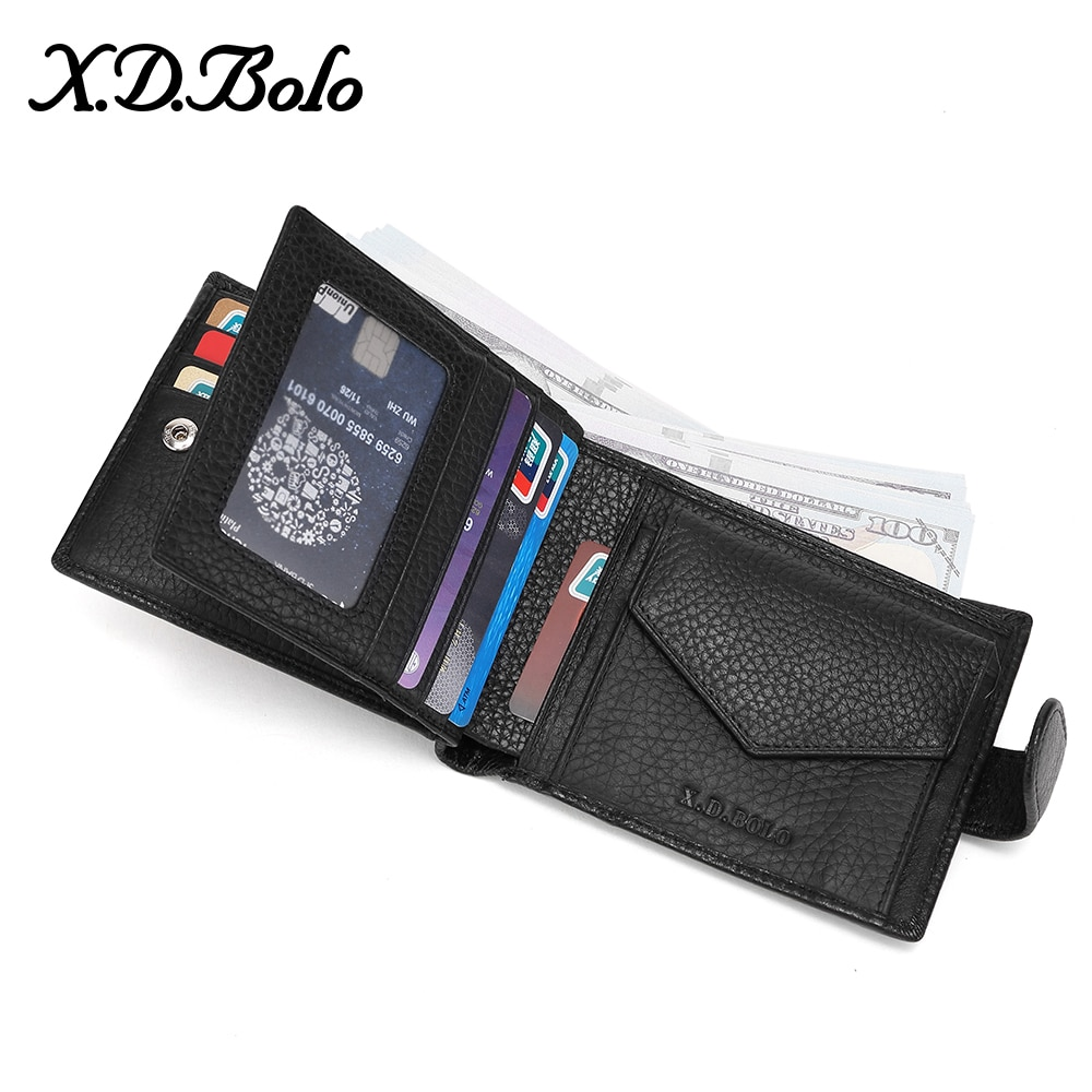 AliExpress - X.D.BOLO 2020 Male Leather Wallet Men's Wallets Card Holder Genuine Leather Purse for Men Wallet with Coin Pocket Money Bag
