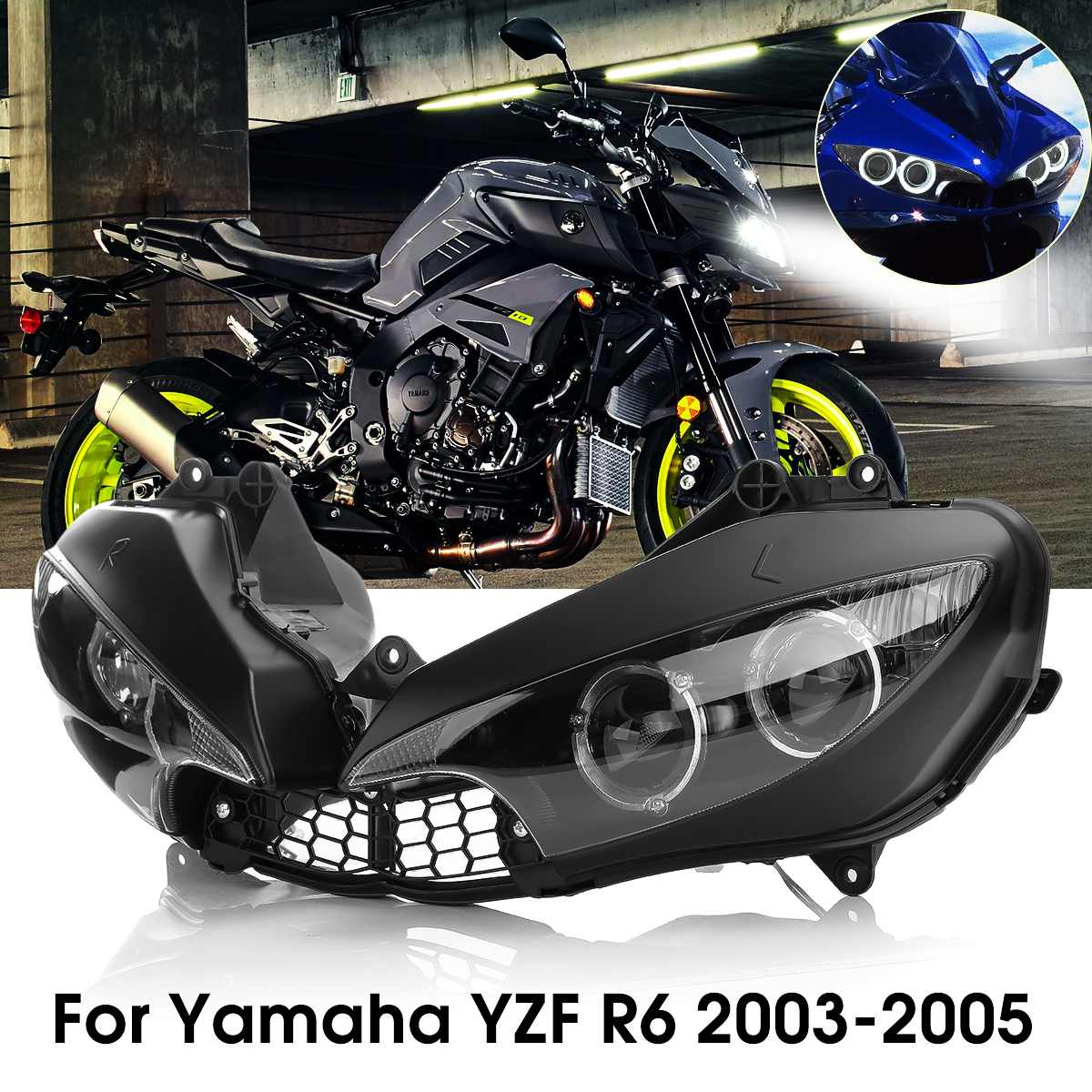 Motorcycle Front Headlight Head Light Lamp Headlamp Clear For Yamaha YZF R6 2003 2004 2005