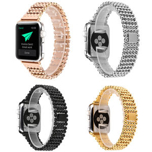 Luxury Ball Beads Strap for Apple Watch Band Series 3 2 1 Metal Wristband for iWatch 38/42mm w Stainless Steel Bracelet Adapters