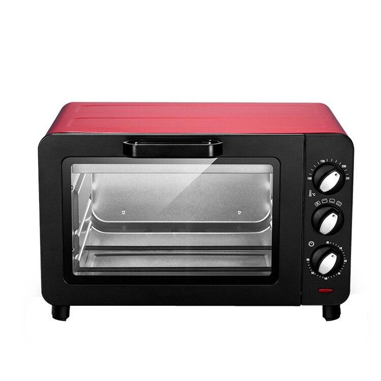 Horno eléctrico multifunción pequeño de 15L para el hogar, máquina para hornear pasteles, mini horno de Pizza, función de control de temperatura, horno con perilla