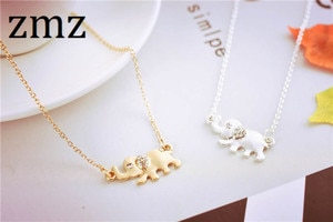 ZMZ 50pcs/lot cute elephant animal necklace elegant pendant with shinny glass main stone outdoor necklace gift for girls