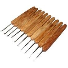 Poignée en bambou crochets métalliques   10 pièces, Crochet à aiguilles, outil en 1 Set
