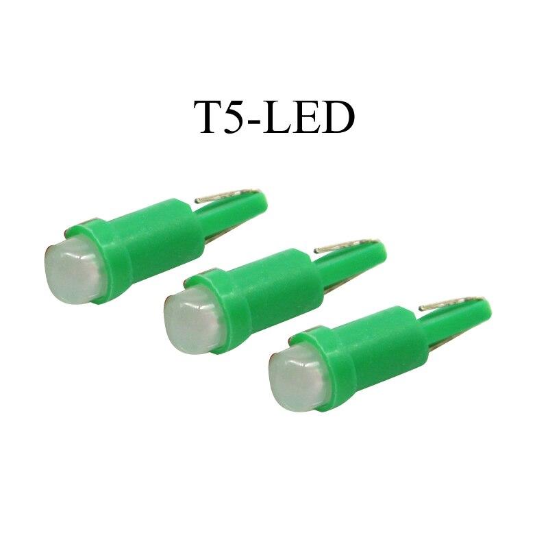10 unids/lote T5 luces para el cuadro de instrumentos del coche luz de señal 1W 12V color verde al por mayor