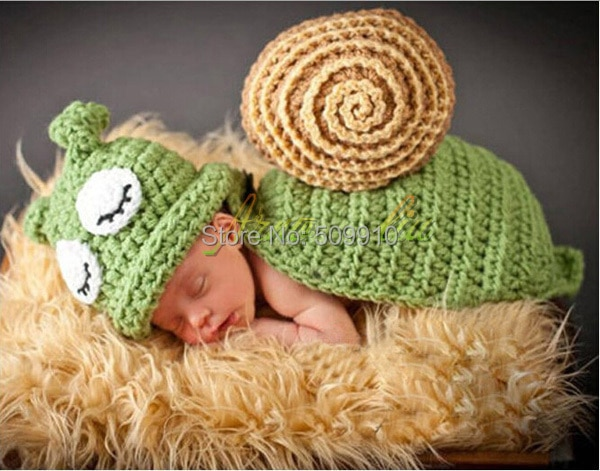 New 2019 Newborn Photography Props Baby Snail Hat and Cover Set Animal Beanie Infant Hats 1 set Hand Crochet Snail Set недорого