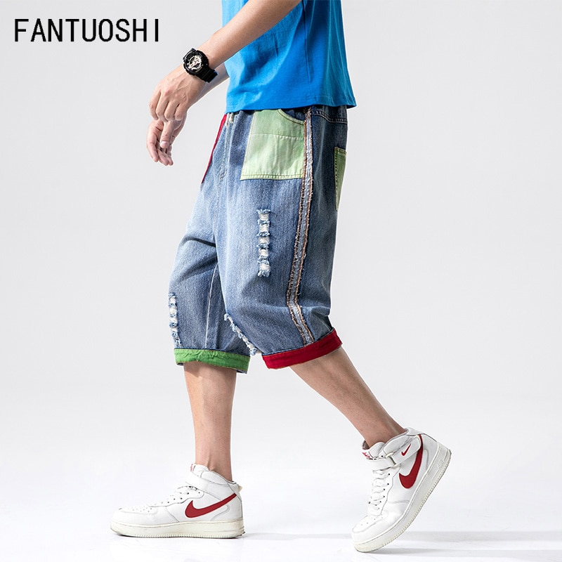 Pantalones vaqueros cortos para hombre 2019, novedad de verano, pantalones cortos de hip hop, pantalones cortos Harlan de empalme, pantalones recortados para hombre, ropa de talla grande 5X