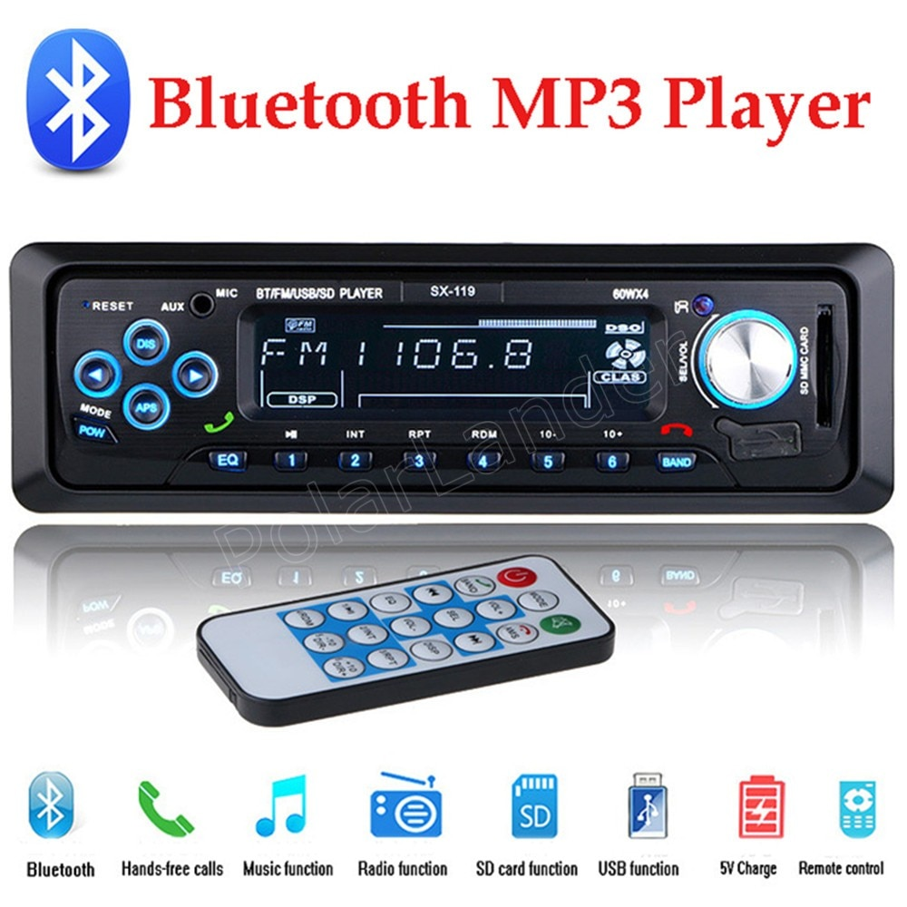 Radio de coche 12V bluetooth manos libres 1 Din estéreo MP3 USB SD AUX FM Audio Player música control remoto mejor precio venta