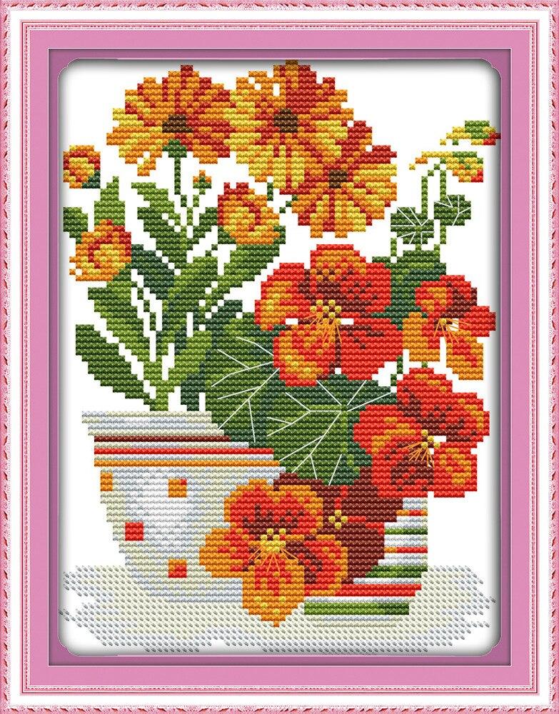 Serie de flores en maceta (2), lienzo impreso, Kits de punto de cruz con cuentas DMC, juego de bordado de punto de cruz impreso, costura