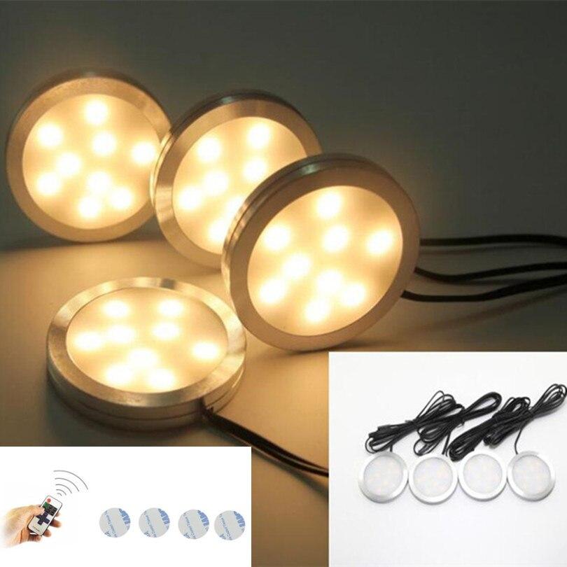 مصباح led 4x led تحت الخزانة ، مع جهاز تحكم عن بعد RF ، قابل للتعتيم ، للمنزل ، المطبخ ، الخزانة ، التوصيل المجاني